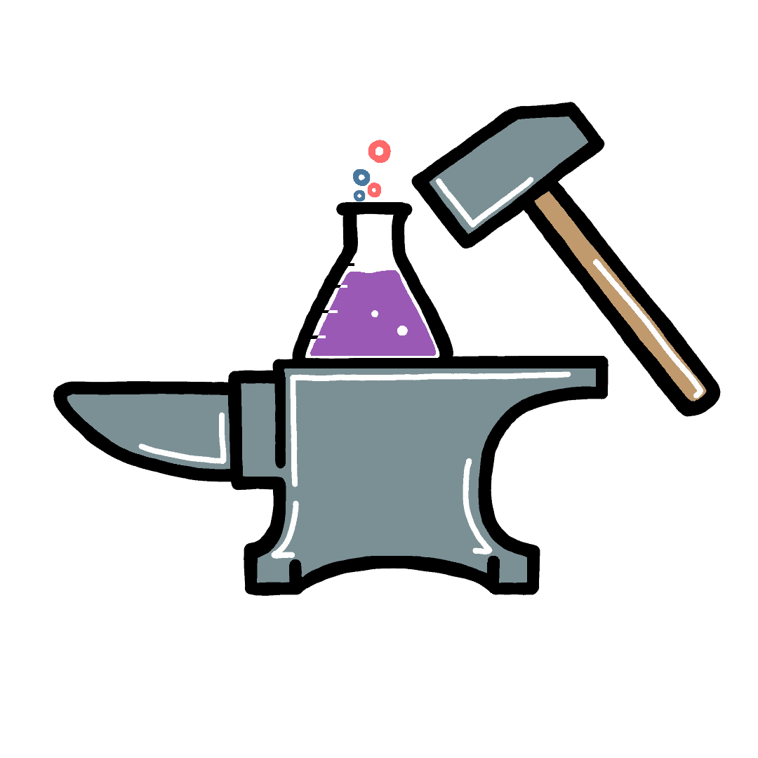 smarter and harder logo with grey anvil hammer and purple flask