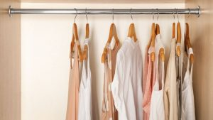 white and pink shirts in minimalist closet